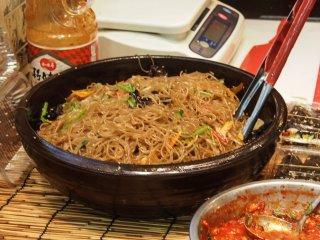 Fresh giant bowl of japchae.