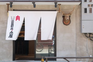 Taxidermy deer head to greet you at the entrance