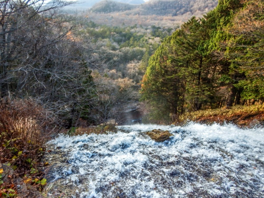 The crest of Yutaki falls; the first view for anyone approaching this waterfall from Lake Yunoko