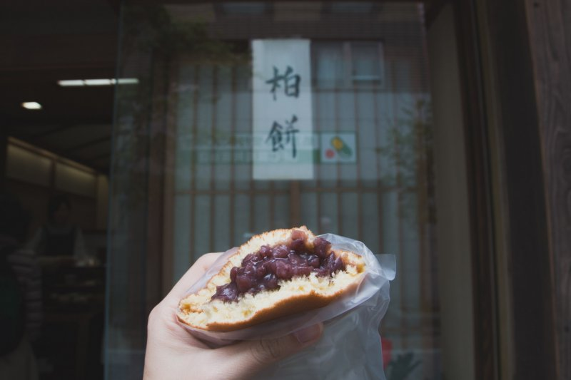 Just look at the amount of bean paste in the dorayaki!