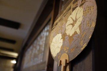 Beautiful patterns on a Japanese bamboo hand fan
