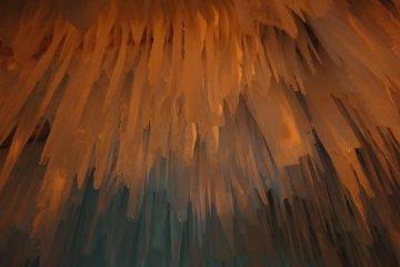 Ice stalegtites on ceiling