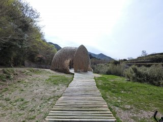 Walk along a bamboo path to approach this nest-like structure