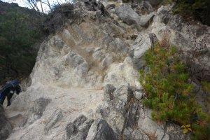 Steep boulders
