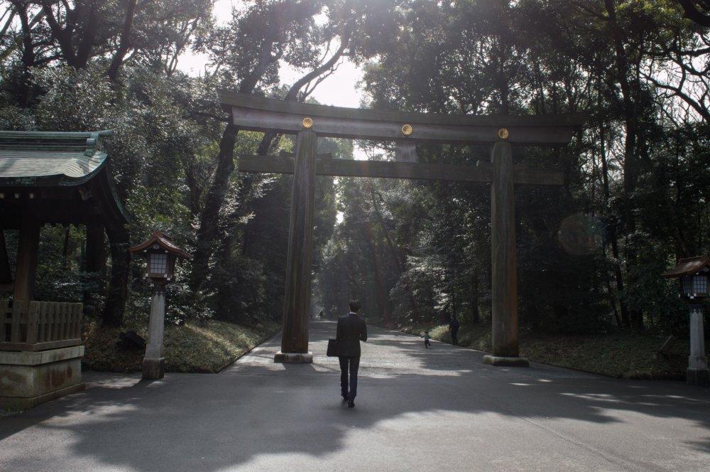 A business man leisurely heading towards the Meiji Jingu Torii, or the shrine's entrance gate