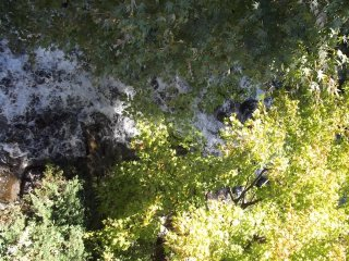 Looking directly down onto the waterfall