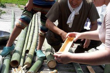 Making bamboo dinner sets
