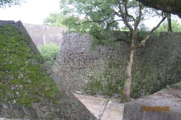 The massive stone walls of Kumamoto Castle are the most extensive of any castle I've seen