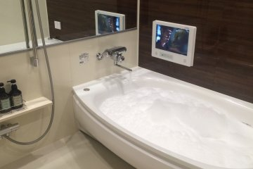 Most baths include bubble bath and a tv. Spiderman, anyone? (Miyagi Prefecture)