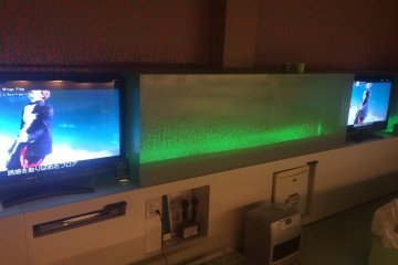 This hotel had three TVs, one for the bed, couch and the bathroom (Fukushima Prefecture)