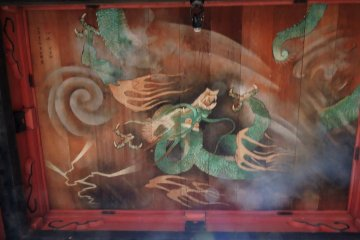 Green dragon on the ceiling