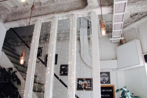 Stairs up to the barista training centre
