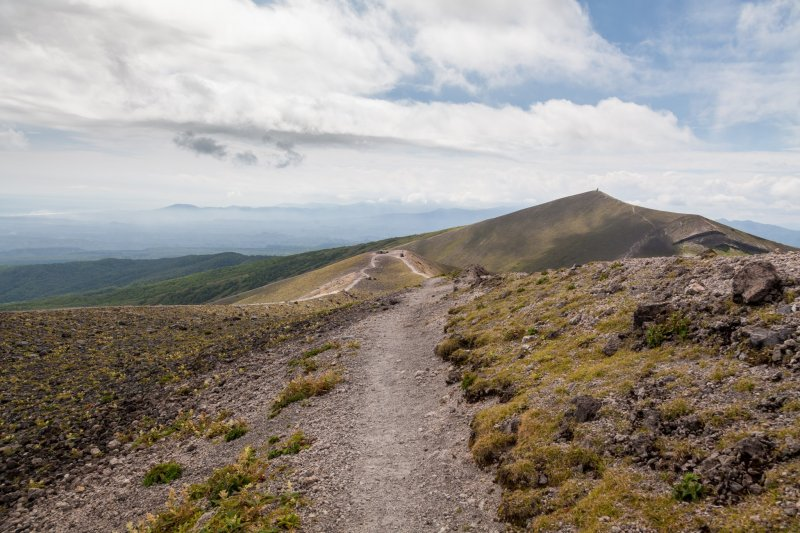 Following the path around the crater