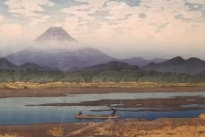 A print of a view of Mount Fuji