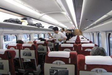On board a JR East Shinkansen bound for the Tohoku area
