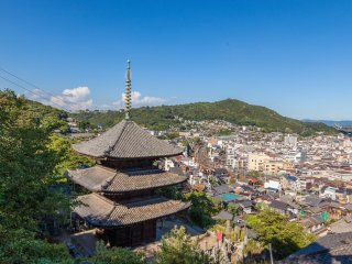 Vue de la pagode du temple Tennei-ji