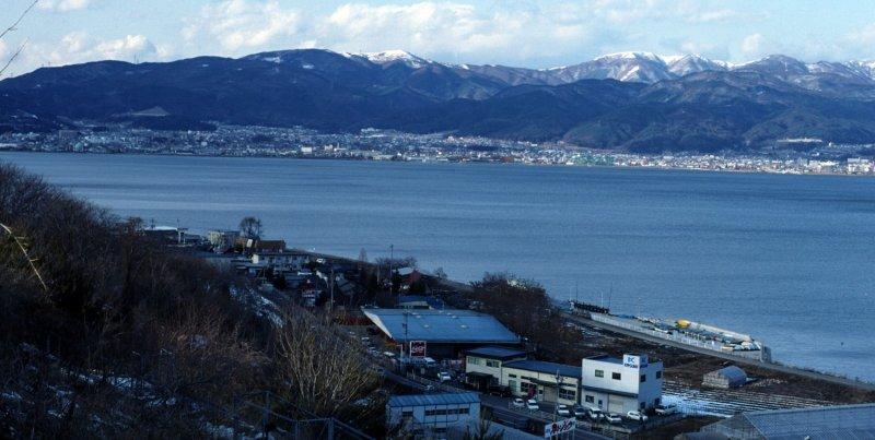 Look from afar over Lake Suwa