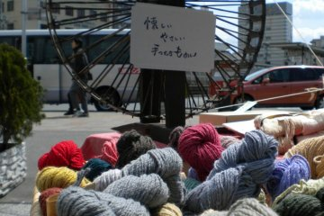 Handspun and hand-dyed yarn make for organic coziness!