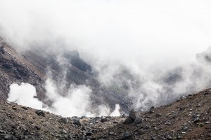 Smoke and mist at the volcano