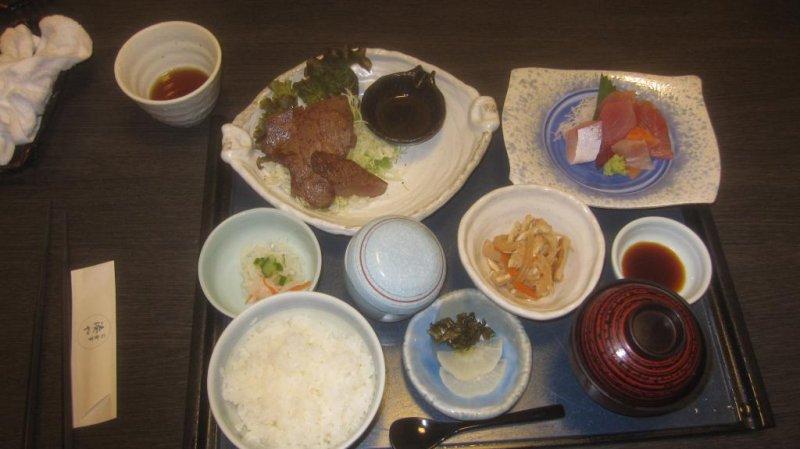 My beef and sashimi set meal