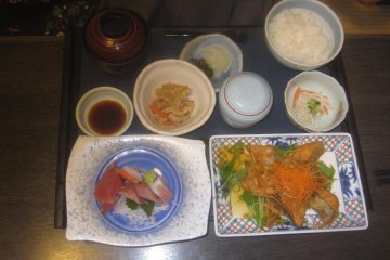 My hosts' salmon and sashimi set