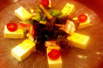 Tofu and Green Salad with Japanese soy and ponzu dressing