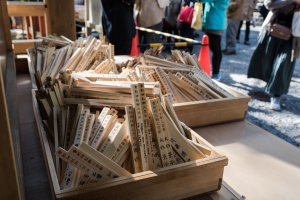 The extra wooden prayer sticks to be used later in the festival