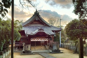 The shrine itself stands atop a small wooded hill