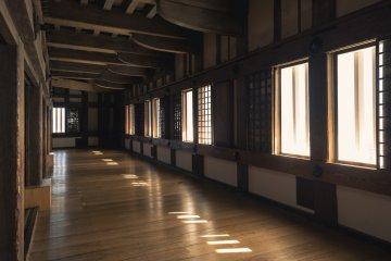 Warm afternoon light shines through windows in a castle hallway
