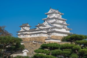 Himeji Castle as seen from an adjacent garden