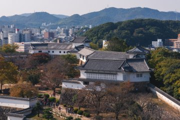 A view of the west bailey from inside Himeji Castle