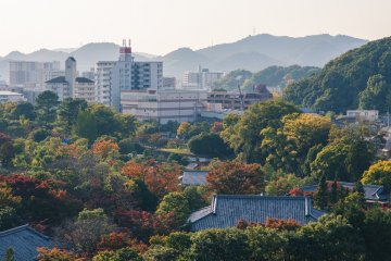 An autumn view over the city as seen from Himeji Castle