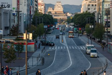 Looking down the main street toward Himeji Castle from Himeji Station
