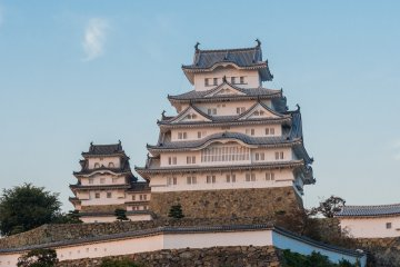 Himeji Castle glowing in the light of sunset