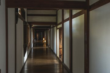A hallway with many rooms in the west bailey where the princess resided