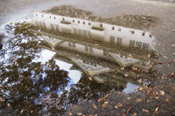 The Castle reflected in a puddle
