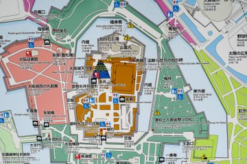 Map of Osaka Castle and surrounding areas