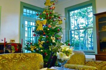 거실의 크리스마스 트리