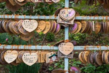 Heart-shaped Ema for shinto prayers.