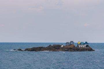 Nochigashima in the distance as seen from Kinosaki Marine World