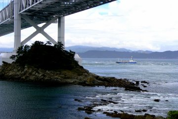 View from shore under bridge