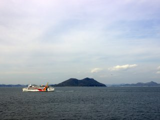 The ferry to Shodoshima going in front of Ogijima