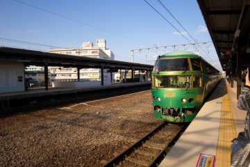 The stunning green and gold exterior of Yufuin no Mori!