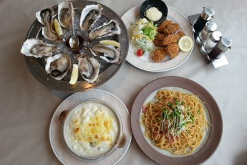 Clockwise from top left: Fresh Oysters, Fried Oysters, Oyster Pasta, Oyster Gratin