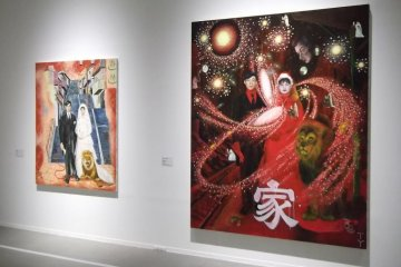 <p>Paintings of a happy couple with chaos around them</p>