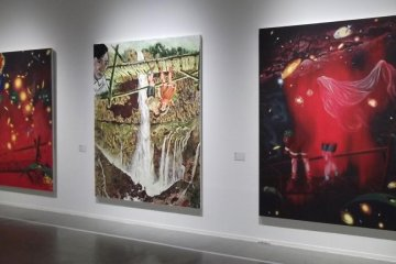 <p>More of Yokoo&#39;s large, colorful paintings</p>