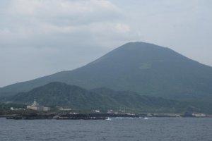 Hachijojima's mini Mt Fuji on arrival at Sokodo port