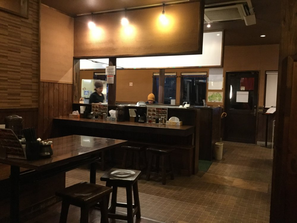 Wood panels and furnitue make for a warm and cozy interior, far from the rushed atmosphere of many ramen joints.