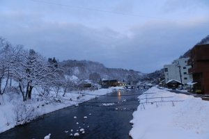The Dozan River runs through the center of Hijiori Onsen