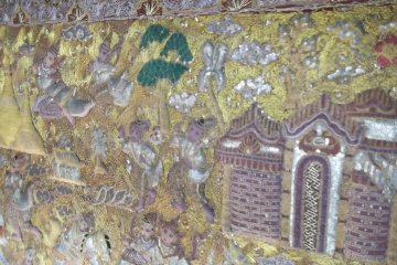 Detail of a tapestry at the entrance